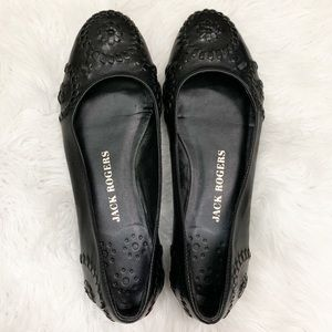 Jack Rogers Navajo Leather Ballet Flats Black 8